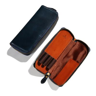 アシュフォード×趣味の文具箱 ブルーコードバン 3本挿しペンケース