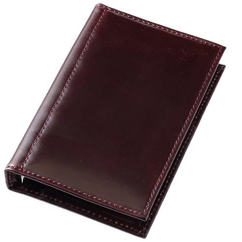 アシュフォード×趣味の文具箱 バーガンディコードバン システム手帳 マイクロ5(リング径11mm)