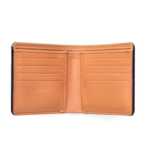 BikeJIN×Pair Slope コードバン二つ折り財布 コインケースなし/ブラック×キャメル